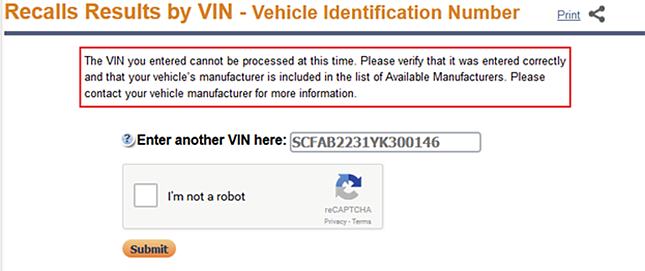 Recall Information Not Available